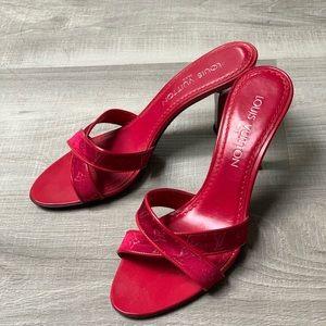 Classic Louis Vuitton Red Monogram Heels/Mules